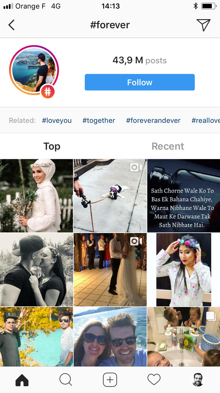 top posts section instagram mobile