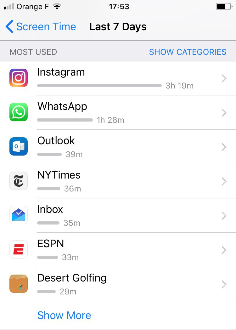 screen time most used apps