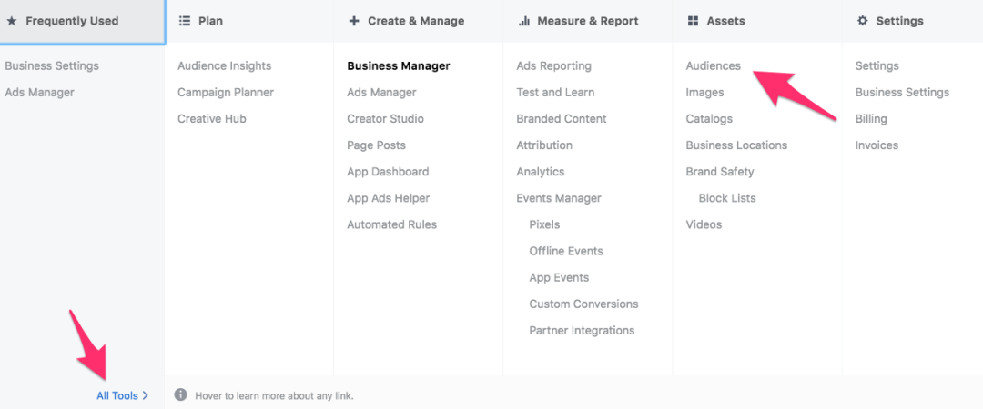 all tools facebook business manager