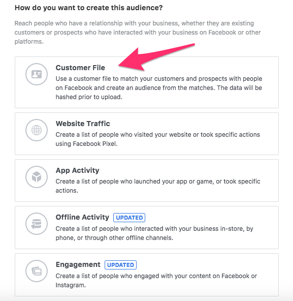 upload audience to synch with facebook